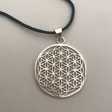 Flower of Life Sacred Geometry Silver Plated Brass Pendant Necklace