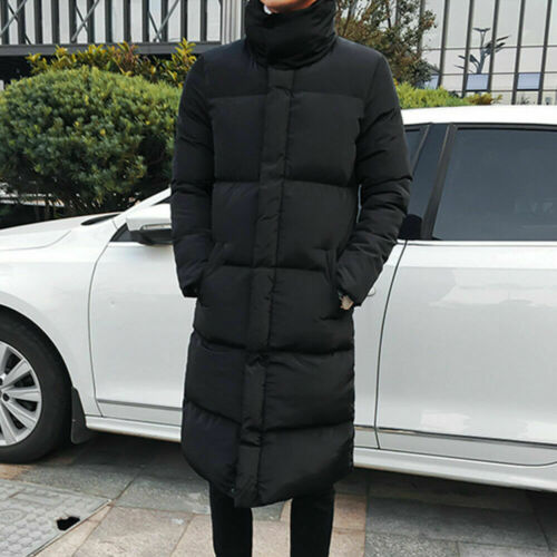 Mens Down Feel Quilted Longline Jacket Bubble Puffer Parka Coat Overcoat