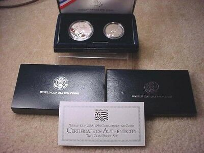 1994 WORLD CUP COMMEMORATIVE PROOF SILVER DOLLAR /& CLAD HALF 2 COIN SET #145