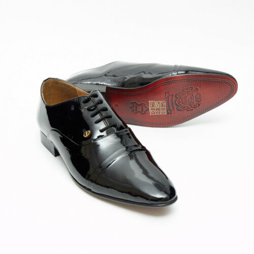 Mens Patent Leather Folded Cap Oxford Shoes Black