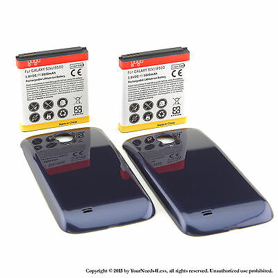 2 x 5600mAh Extended Battery for Samsung Galaxy S 4 IV i9500 Blue Cover