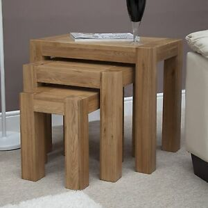 Image Is Loading Michigan Nest Of Three Coffee Tables Solid Oak