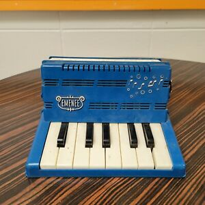 Vintage Blue Emenee Childrens Accordion Squeeze Box Instrument Working Complete