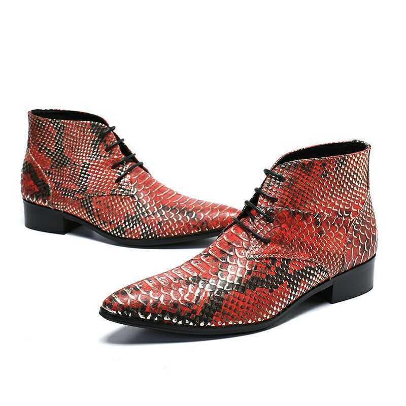 Patrón de negocios de Cuero para Hombre Botín Tacón Bajo Bloque Punk Zapatos High Top Nuevo