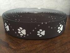 "1m Black Dog Paw Print Collar Lead Printed Grosgrain Ribbon, 1"" 25mm"