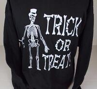 Vintage 97 Trick Or Treat Halloween Skeleton Top Hat Cane Tultex Sweater Xl