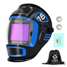 True Color Solar Powered Auto Darkening Welding Helmet 4 Arc Sensor Wide Shade