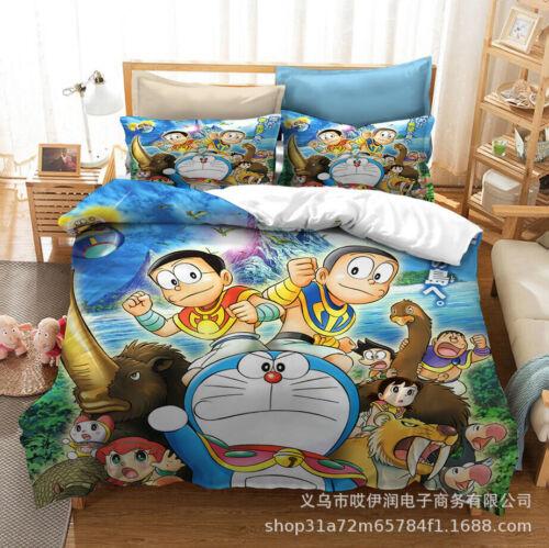 Doraemon bedding Set 2//3PC Of Duvet Cover Pillowcase Single//Double UK