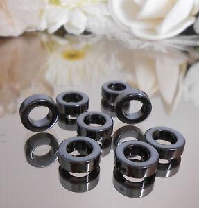 20 Stück Hämatit Ringe 12 mm grau schwarz glänzend Edelstein Perlen