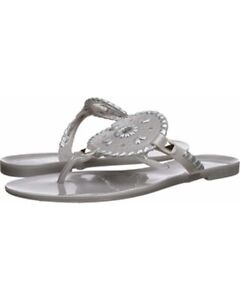 Jack-Rogers-Georgica-Jellies-Jelly-Flip-Flop-Sandals-Silver-size-5-NEW