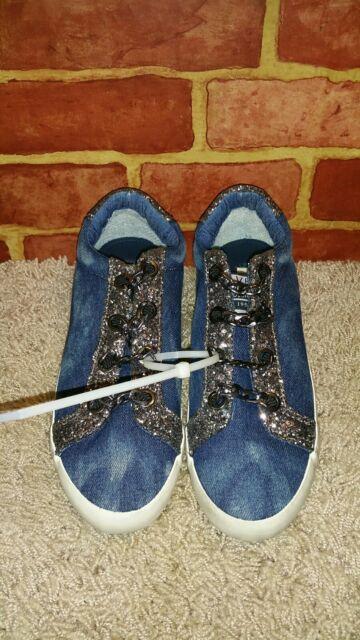 08f4970a8930 Vintage Havana WM's Yves Sneakers, Blue Denim Sparkle Slip on, Chain SZ 11  2462