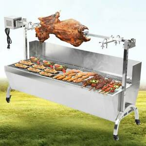46'' Large Spit Roaster Rotisserie Chicken Pig Lamb Roast Electric BBQ Grill