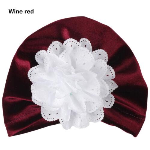 Accessories Beanie Headwear Baby Turban Hat Velvet Flowers Kids Headwraps