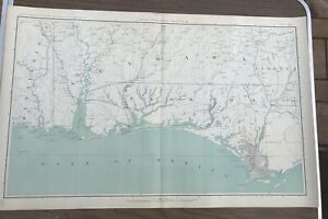 Details about Antique Civil War Map No  147 Topographic Map Of Gulf FL AL  GA And Mississippi
