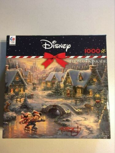 Disney Puzzle Thomas Kinkade Mickey/'s Victorian Christmas 1000 Piece New