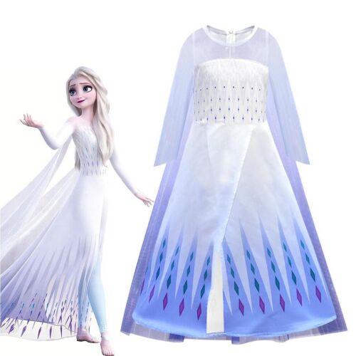 Kids Girls Princess Queen Elsa Dress Cosplay Costume Birthday Party Dress Cloak