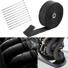 "2"" 50ft Roll Fiberglass Exhaust Header Pipe Heat Wrap Tape Black +10 Ties Kit"