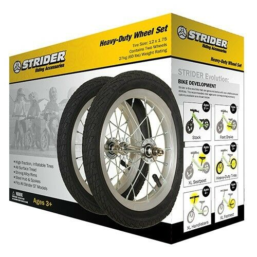 Strider Heavy-Duty Aluminum Alloy Wheel with Pneumatic Tires Set of 2