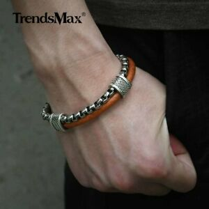 Sport-8-26inch-Leather-Bracelet-For-Men-Stainless-Steel-Box-Chain-Toggle-Buckle