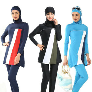 6a3d5d36a16 Image is loading Women-Swimwear-Muslim-Full-Cover-Swimsuit-Islam-Modest-
