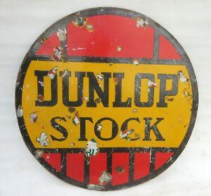 Vintage-Old-Dunlop-Tyre-Stock-Dealer-Automobile-Tyre-Store-Porcelain-Enamel-Sign