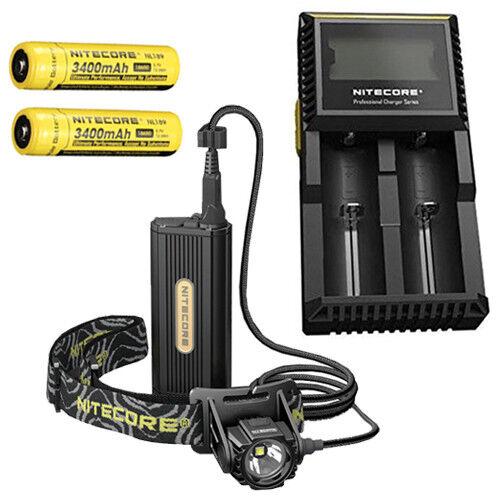 Nitecore HC70 Rechargeable Headlamp w2x NL189 3400mAh Batteries & D2 Charger