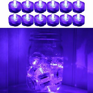 12 PURPLE LED SUBMERSIBLE Waterproof Floral Decor Wedding centerpiece Tea Light