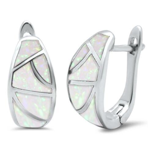 Opale blanc J Hoop Large Argent Sterling .925 Boucles d/'oreilles