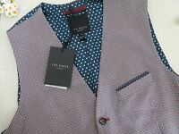 Ted Baker Red Blue Chivwai Check Pattern Waistcoat Size 3 M