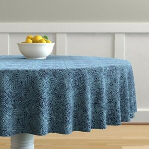 Round-Tablecloth-Wordly-Mexican-Mexico-Tribal-Blue-Jean-Monochrome-Cotton-Sateen