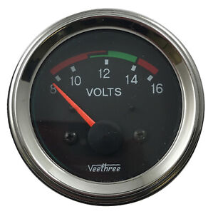 "Veethree Universal 2"" Voltmeter Gauge 8-16 Volts 52mm Chrome"