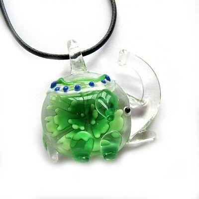 Geen Flower Design Lampwork Glass Happy Lucky Elephant Shape Pendant Jewelry