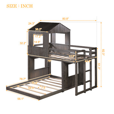 Win Over Full Bunk Bed Loft Bed With Playhouse Farmhouse Ladder Guardrails Ebay