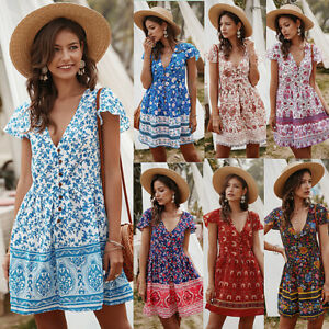 Summer-UK-Women-039-s-Boho-Floral-Paisley-Mini-Sun-Dress-Button-Ladies-Holiday-Beach
