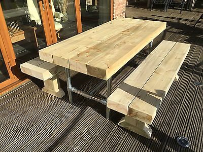 INDUSTRIAL RUSTIC Solid Sleeper Outside Table And Benches /Garden Furniture