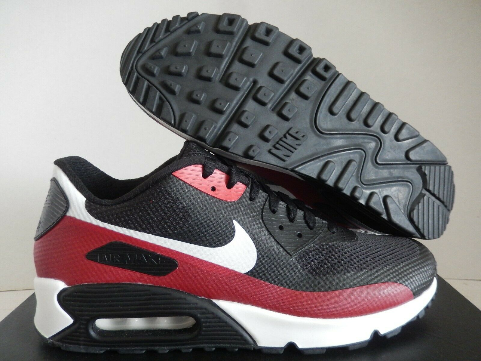 Nike Air Max 90 Hyp Hyperfuse Id Black Team Red White Sz 10 5