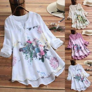 Women-Vintage-V-Neck-Floral-Cotton-Linen-Long-Sleeve-Top-T-Shirt-Blouse-Pullover
