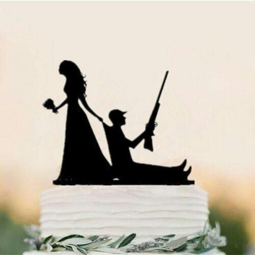 Fishing Hunting Wedding Cake Topper Dog Funny Decoration Mr /& Mrs Groom /& Bride