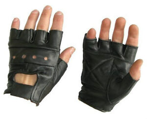 MENS-LEATHER-FINGERLESS-GLOVES-BIKER-MOTORCYCLE-WEIGHT-TRAINING-PACK-OF-2-PAIRS