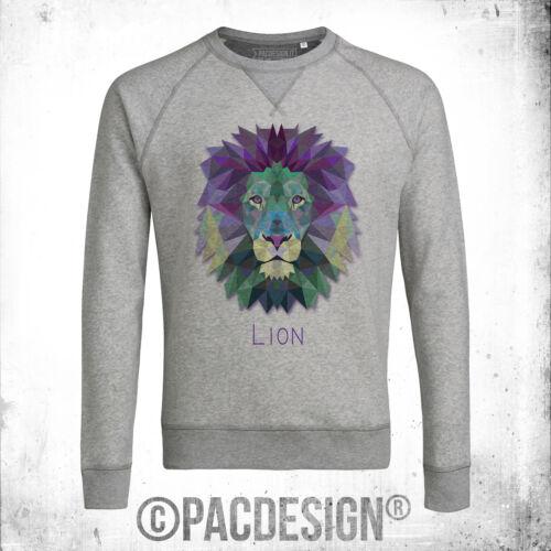FELPA UOMO GRAPHIC ANIMAL POLYGONAL STREETWEAR LEONE LION VINTAGE NE0170A
