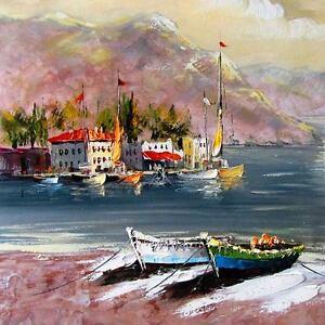 Peinture-L' été sur le lac, nouveau peinture huile sur châssis, Seeland Tige, bateaux à voile  </span>