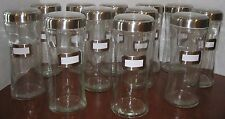 """11"""" TALL CLEAR GLASS JAR SCREW TOP CLEAR LID WITH LABEL WEDDING CANDY BAR NEW!"""