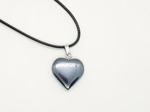 Hematite Pendant Necklace Quartz Heart Love Reiki Yoga Healing Crystal