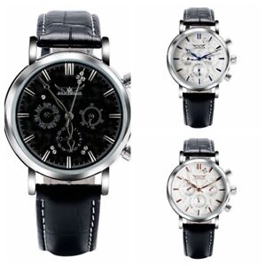 d6945c96c92 Image is loading JARAGAR -Mens-Automatic-Mechanical-Watch-Leather-Analog-Wristwatch-