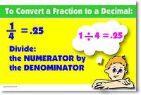 Convert Fraction To Decimal - Math Poster