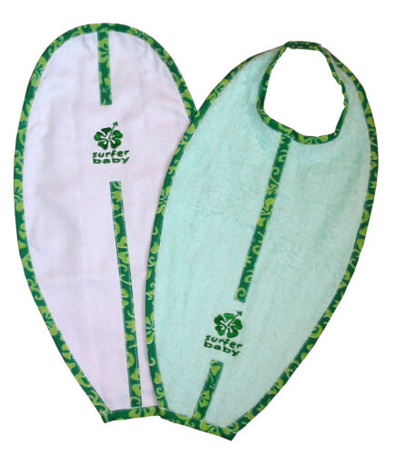 Surfer Baby Large Surfboard Shaped 100/% Cotton Baby Bib and Burp Cloth Set