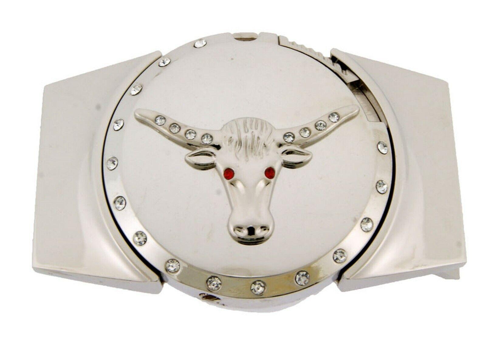 Abnehmbare Feuerzeuge Gürtelschnalle Bulle Longhorn Silber Chrom Texas West Stil