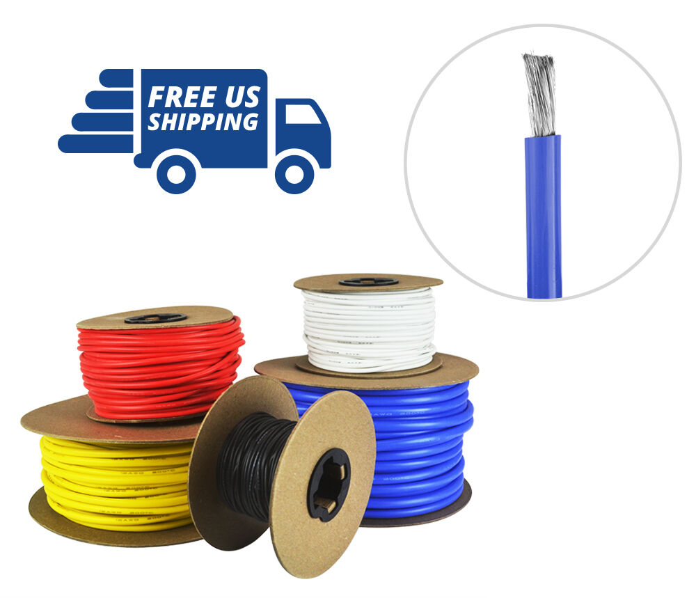 14 AWG Gauge Silicone Wire Spool - Fine Strand Tinned Copper - 100 ft. blu