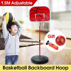 Adjustable Kids Indoor Outdoor Basketball Backboard Stand & Net Hoop Set Toys