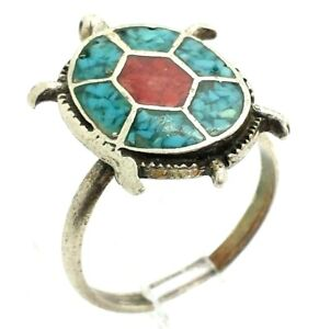 Navajo-Turquoise-Coral-Turtle-Sterling-Silver-925-Ring-4g-Sz-6-75-NEW290